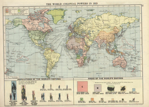 This is what the world looked like when my grandmother was born. cartographymaps:  Unknown, 1920, World Colonial Powers in 1919