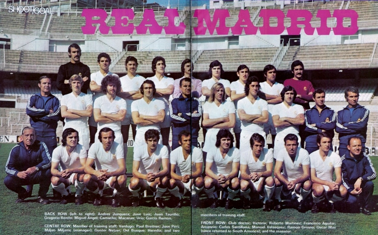 "Real Madrid 1974-75 Coached by the recently departed Miljan Miljanic, Real did the double in the 1974-75 season. Topping the league with a comfortable 12 points between themselves and Real Zaragoza and beating city rivals Atletico on penalties (4-3) for the Copa del Rey. Source: Shoot!/Goal Magazine Brian Glanville's Obituary of Miljan Miljanic in the Guardian:  ""The football manager Miljan Miljanic, who has died aged 81, could fairly claim to have taught the English a thing or two about tactics. At the helm of the Yugoslav side Red Star Belgrade, he twice saw off the English champions Liverpool in home and away legs of a European cup tie in 1973, leading to a rethink that had major ramifications, enabling English domination of European competition until the ban that followed the Heysel disaster 12 years later…"" Brian Glanville"