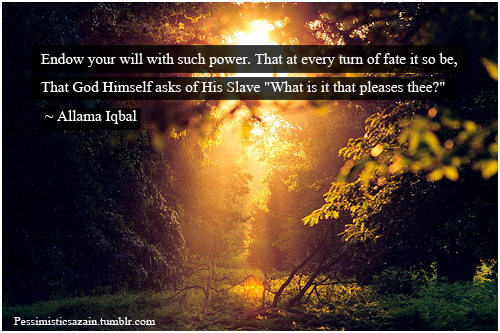 "Endow your will with such power. That at every turn of fate it so be, That God Himself asks of His Slave ""What is it that pleases thee?"" Allama Iqbal  ""Khudi ko kar buland itna, ke har takdeer se pehle khuda bande se khud puche, bata teri raza kiya hai?"" (via delightful-dawn, onthevergeoftearz)  Pakistan's national poet.  Follow us on Facebook 