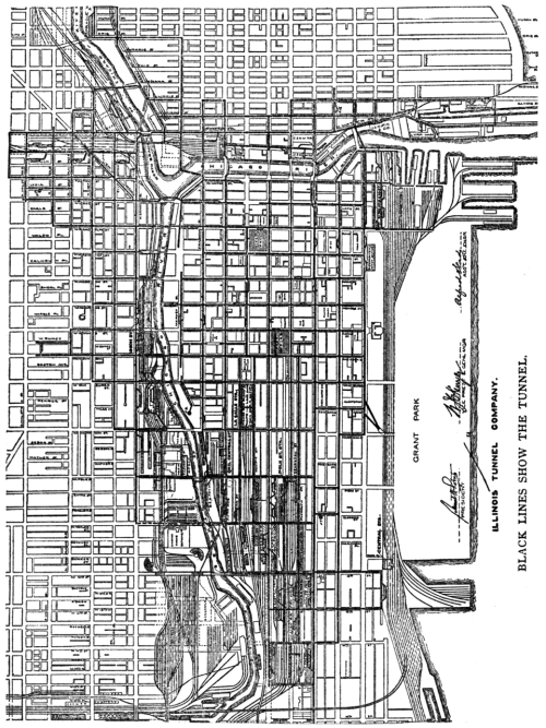 Map of the underground tunnel system in Chicago, c.1910.