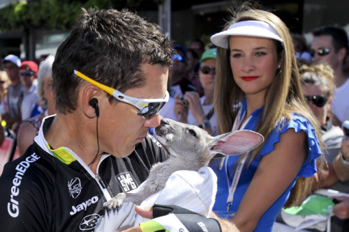 fuckyeahcycling:  Robbie McEwen from Australia holds a kangaroo prior to stage 3 of the 2012 Tour Down Under in Unley on January 19, 2012. The cycling's World Tour is held over six stages from January 15 to 22.  Kangaroo kisses and cycling. What more could a mafucka ask for?