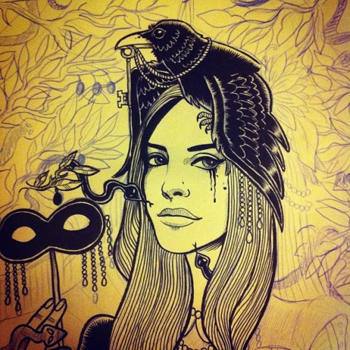 #lanadelrey #linework in progress #borntodie #crow #olive #raven #press #viper #snake #illustration #art #print  (Taken with instagram)