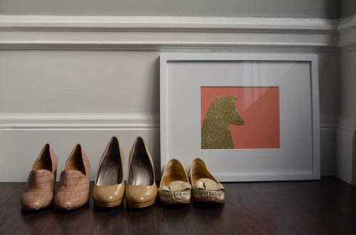 theglitterguide:   DIY Dog Silhouette | theglitterguide.com  Pretty shoes. I've been casually looking for a cute, affordable and comfortable pair of tan/nude pumps/shoes for about a year now. I don't know if these are affordable or comfortable, but they definitely fit the cute category!