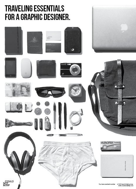 thingsorganizedneatly:  Could Not Sleep Promo Mailer 'Traveling Essentials of a Graphic Designer'. See more images here.  This made me giggle, I like being a designer sometimes.