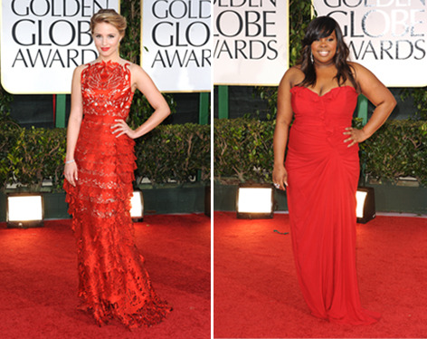 Fashion face-off, Glee edition! Dianna Agron and Amber Riley both wore crimson gowns on the red carpet at the 2012 Golden Globes. Tell us who wore it best here »
