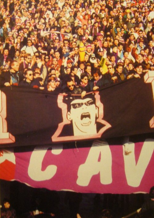 Vintage Serie A Ultras. Does anyone know what this sign is referencing?