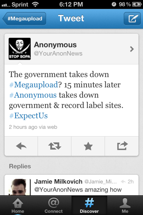The government took down mega upload and Anonymous retaliated