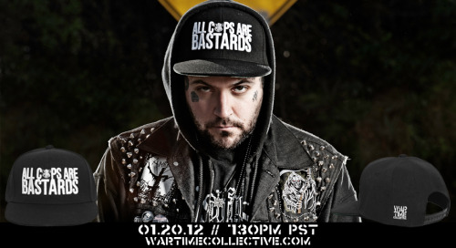 """ALL COPS ARE BASTARDS"" Snap Back Hat….AVAILABLE 1/20/12 AT 7:30PM TO COINCIDE WITH THE LAUNCH OF THE NEW & IMPROVED WWW.WARTIMECOLLECTIVE.COM. SPREAD THE WORD!"