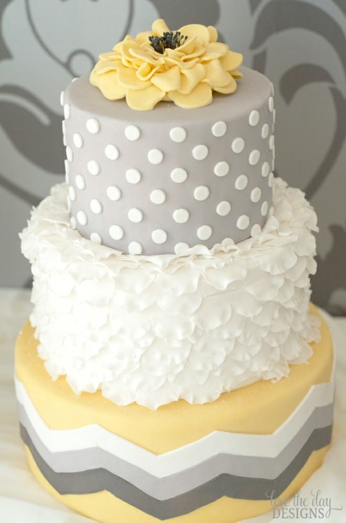 Wedding Cake with a flower on top! from love-the-day