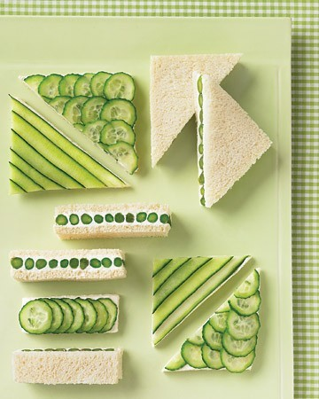Tea Sandwiches with asparagus,cucumber, and cream cheese. From Martha Stewart