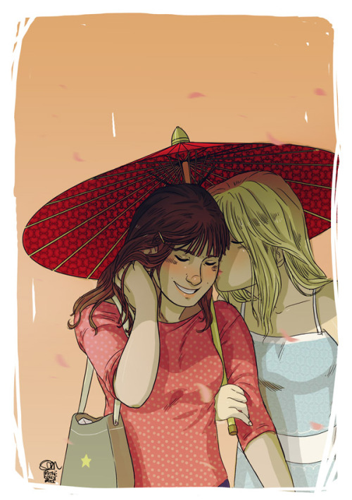 patronustrip:  The sweet scent of almond treesApril's drawing for the Faberry Calendar. Thanks to my friend Linda for gave me the idea. I drawn Quinn with long hair because someone in DA asked me. I like it.Look here for download only January at the moment  tools: photoshop CS3, wacom intuos (tablet)
