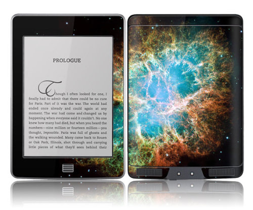 geekymerch:  (via Amazon Kindle Touch Skin Cover Nebula by stickitskins on Etsy)  I could *maybe* convert to an e-reader for this.