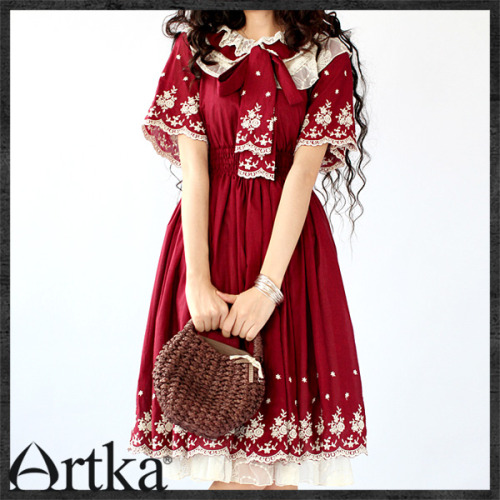 "Red ""lolita"" inspired dress by Artka. AHHH it's so cute. I originally tried to order this back in October but it sold out before I could get an order in. Artka is a shop on taobao.com. It's really annoying to order on taobao. You basically need a shopping service. But I was able to get a few other items from them instead. Their work is BEAUTIFUL."