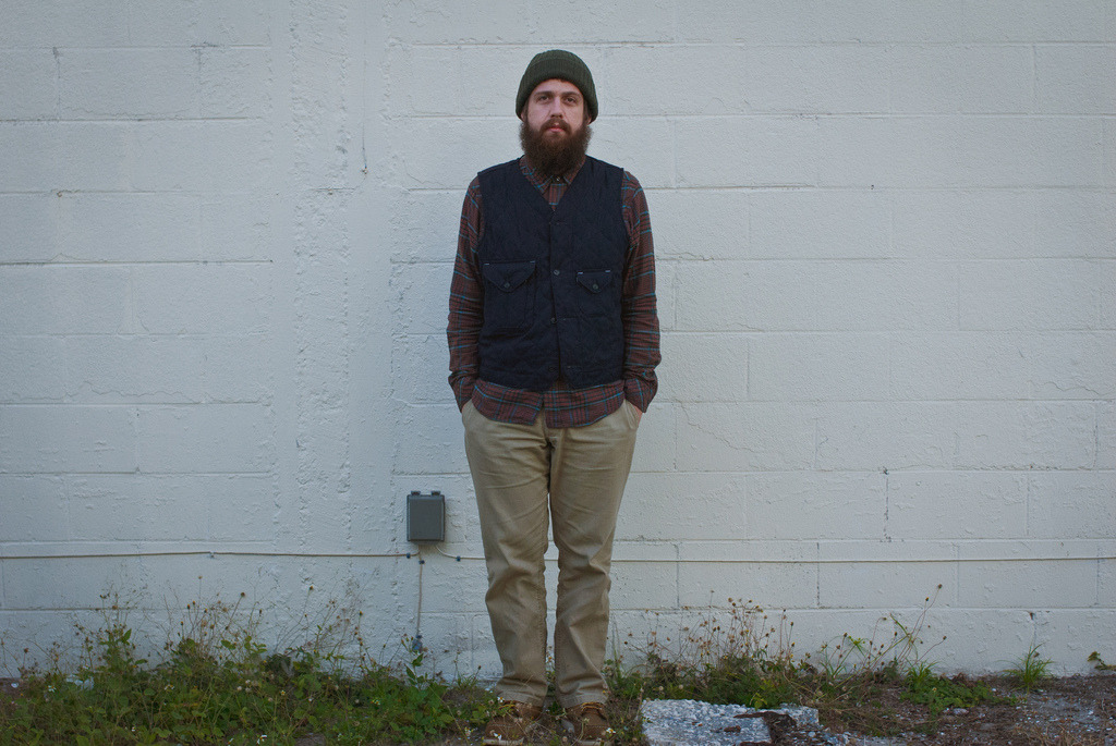Knit: Columbiaknit for Woodlands  Vest: Post Overalls Cruzer  Shirt: Woolrich Woolen Mills  Pants: Left Field NYC Wheat Canvas Chinos  Boots: Redwing 8881