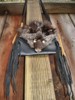 Brown Fox  Sacred Medicine Pouch with Snake Vertebra eyes WWW.ADORNEDIMMORTAL.COM