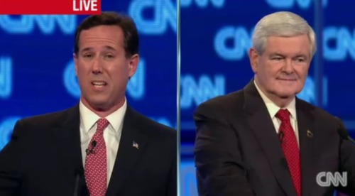 """Grandiosity has never been a problem with Newt Gingrich."" Zing! More debate coverage: ShortFormBlog 