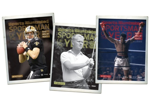 Over the summer I took an assignment in the Sports Illustrated marketing department. Talk about a fish out of water. I'm pretty much a non-athlete ; I have coordination issues following my aerobics teacher and I used to do a bit of surfing but that was 3 years ago prior to becoming a mother and now I'm afraid of inflicting bodily harm now that I have someone else who depends on me. But while I'm totally unaware of what goes on in the sports world, I have a small working knowledge of golfers that only can be chalked up to my husband's 24-7 obsession with the sport. TV is always burning a hole in our house Sunday and Monday night due to football; I have even considered messing with his fantasy football line ups. The guys at SI took a chance on me and let me play around with one of the Sportsman of the Year campaign, its way to commend heroic and fair play in the world of sports. My take on the ad campaign never made it into production but I feel that it put up a good fight in the ring. (Note: photos are part of SI archives)