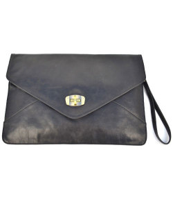 Black leather envelope bag. Very much needed.