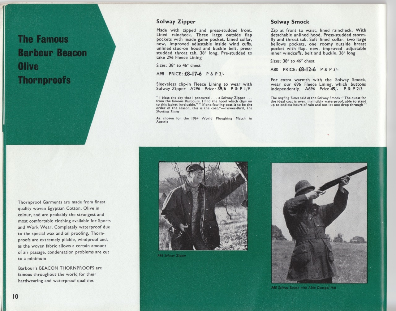 "Barbour 1964 catalogue excerpt.  The Solway Zipper is still on my ""get"" list.  They were reissued a couple of years ago and I failed to pick one up."