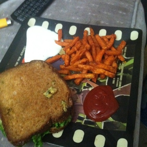 "purdoom:  ianishollywood:  Chickpea ""tuna"" melt with chipotle sweet potato fries. (Taken with instagram)  I'm so glad Ian wanted to make this, because I'm far too lazy.  I need this recipe, like, yesterday."