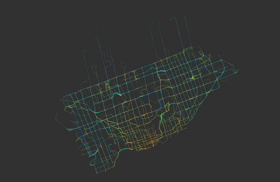 titularhumour:  Look at this. Somebody has mapped the average speed of TTC buses and streetcars. Blue is fast, red is slow.