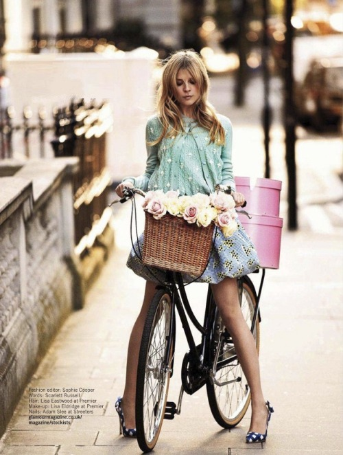 Ride it. Clemence Poesy photographed by David Oldham for Glamour UK. You will also like: Monica Bellucci as Little Red Riding Hood.