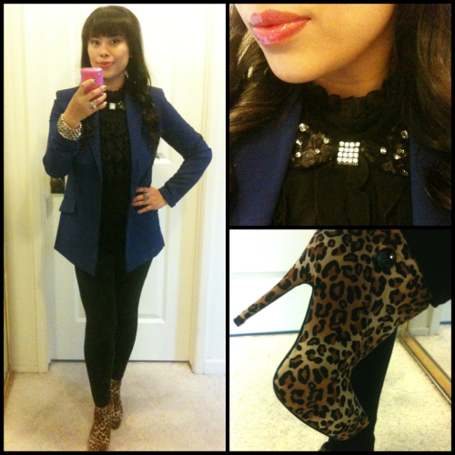 My outfit of the day. Key pieces are: blue blazer from Forever21, leopard booties from Styles For Less, and my custom sequin collar by Viola Jane Designs.