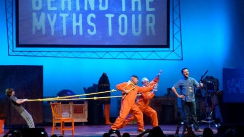 ihaskidgloves:  Adam Savage and Jamie Hyneman with Wil Wheaton at Mythbusters Behind the Myths Tour, Los Angeles. 15 January 2012. Photo by Cate.