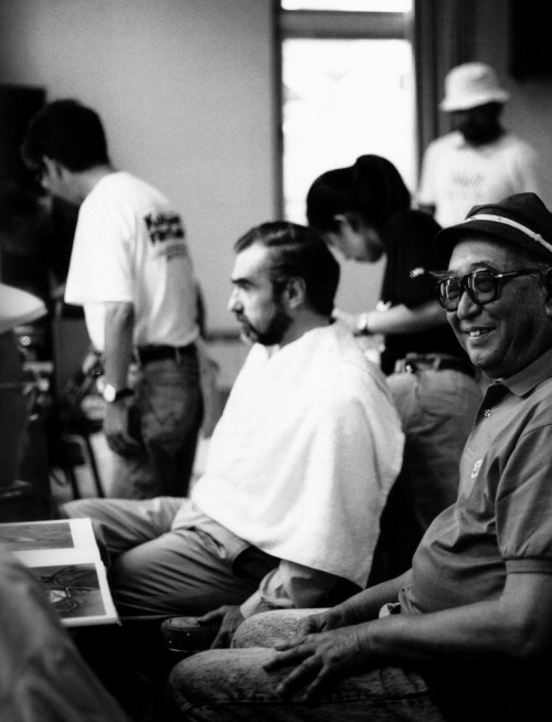 Akira Kurosawa with Martin Scorsese, who is getting made up for his turn as Vincent Van Gogh in Kurosawa's Dreams (via)