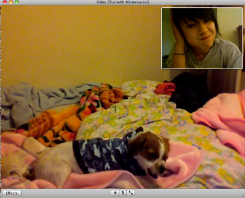 Webcamming with my puppy. :)