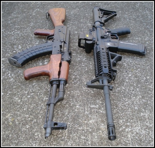 gunrunnerhell:  AR vs AK: Never Ending Battle (Personally I like them both; Russian reliability versus American adaptability. Though…if shit hits the fan I'm going with the AK, just my end of the world preference.)