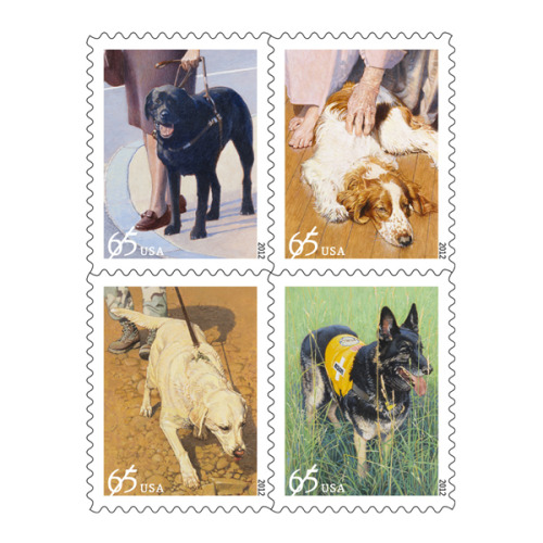 "Starting today, a new set of stamps honoring working dogs will be available at the U.S. post office.  You can buy them online from the USPS website by clicking here.  The official description is as follows:  In today's world, dogs are more than just best friends — frequently, they're also superb coworkers. The U.S. Postal Service® celebrates the enduring partnership between dogs and people with the Dogs at Work issuance. This set of four stamps depicts four hard-working canines: a guide dog assisting a woman who is blind, a tracking dog on the trail of a scent, a therapy dog visiting an elderly woman in her home, and a search and rescue dog standing in a field, ready to tackle the next assignment. *** Artist John M. Thompson created original paintings for the stamps, which were designed by art director Howard E. Paine. The ""Dogs At Work"" stamps are being issued at a 65-cent denomination, which is the price for single-piece retail First-Class Mail weighing more than one ounce and up to and including two ounces.  If happen to need stamps, please consider buying this set to honor our hard-working canine friends. I would love it if I were to receive a stamped letter featuring one of these dogs.  Click here for the full description."