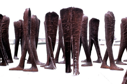 Agora by Magdalena Abakanowicz (a fellow Pol! Yes I'm proud). The first time I saw these sculptures was when I ran the '07-'09 Chicago Marathons but sadly I never approached them after. At first I thought nothing of it; the work didn't 'move' me. The other day I had another opportunity to check the 9' sculptures out up close, so I did just that. It was very easy to get lost in the sea of legs. It's one of those moments where you must be within the work to actually feel its impact. I have a new appreciation for it and I'm glad it's here for us Chicagoans to enjoy.