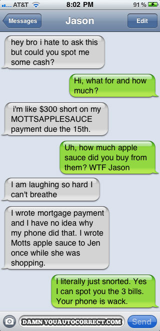 "I don't know why, but the idea of having a $300 ""applesauce payment"" is hilarious to me."
