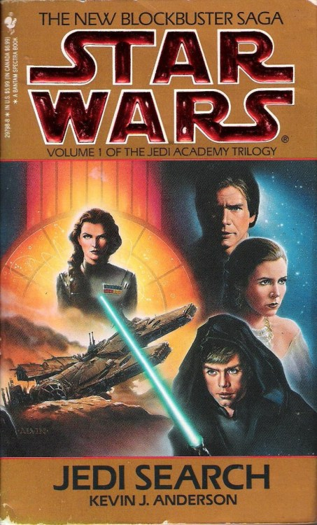 "Jedi Search by Kevin J. Anderson (1994, Bantam) Jedi Search is the first book of The Jedi Academy Trilogy, the second of several Star Wars novel trilogies published by Bantam. This one is set after the events of Dark Empire, with several references to ""the resurrected Emperor.""  In the wake of those events, Luke is poised to finally establish a new Jedi order, which he intends to begin with an academy for new Jedi. After the New Republic Senate agrees to fund this project, Luke must first find students for the academy. Much of the book follows Luke's efforts to track down Force-sensitive people scattered across the galaxy. Even Lando gets involved in this, in a portion of the book that took me longer than normal to read. I recognize that it was meant to be humorous, and it succeeded at first, but the moment it dawned on me that I'd read ten pages about racing amoebas was one of the saddest moments imaginable.  While Luke searches out students for his academy, Han and Chewie head to the mining/prison world of Kessel in an attempt to bring the planet into the New Republic fold.    However, the new boss on Kessel, while not quite the same as the old boss, does bare a grudge against Han. Rather than opening negotiations with them, Moruth Doole throws Han and Chewie into the spice mines. It's here that they meet Kyp Durron.    Durron is a young man who has spent most of his life in the spice mines of Kessel and lost his entire family. It quickly becomes apparent that Kyp is Force-sensitive, and his abilities prove instrumental in helping Han and Chewbacca escape from Kessel.  It's after this escape—and fairly late in the novel—that the Jedi Academy Trilogy's Imperial antagonist, Admiral Daala, appears. Daala (pictured on the cover above), is a former protégé and lover of Grand Moff Tarkin. Shortly before the Death Star's destruction, she, along with a team of scientists and a small Imperial fleet, was secluded at a secret weapons laboratory hidden at the calm center of the Maw, a cluster of black holes near Kessel.    Here they keep an old Death Star prototype, along with a new superweapon, the Sun Crusher, which can destroy entire solar systems.    With the help of the very scientist who designed the Sun Crusher, Han, Chewie, and Kyp are able to steal the device and escape with it back to Coruscant, where Luke has brought his new Jedi trainees, only to eventually relocate them to the newly established academy on Yavin 4.  Prior to this novel, the only Kevin J. Anderson I'd read consisted of the short stories he'd written for other Star Wars anthologies and a short Starjammers series he did for Marvel Comics about ten years ago. I'd found his work to be serviceable, but nothing to write home about.  To a certain extent, this is my assessment of Jedi Search as well. On a technical level, the writing lacks any particular flare, but it's not terrible, and the straightforward prose gets the job done. There's a tendency in this book toward token references to the Star Wars movies and to other expanded universe works that sometimes helps situate the reader, but at other times feels intrusive and superfluous.  The story of Jedi Search, however, is pretty solid, and the book really shines when it comes to characterization and character moments. Leia's affection for her children and concern for Han, and even Threepio's silly efforts to keep the Solo kids under control are often quite touching. There are also a number of passages which invite the reader to experience the awe and wonder of the Force as Luke begins to reveal its mysteries to his new recruits. At their best, these moments evoke some of the films' sense of magic and grandeur.  All told, Jedi Search is a pleasant read, and a solid first entry for this trilogy. Next week, we'll take a look at The Jedi Academy Trilogy's second volume, Dark Apprentice."