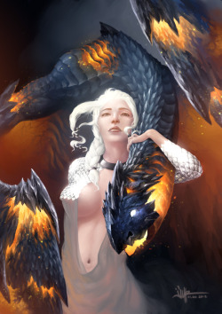 daenerys by ijur Love how the dragon is rendered on this one :)