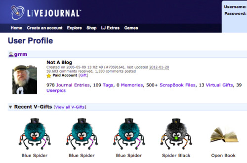 "LiveJournal, one of the web's most popular early blogging sites, is launching a comeback in the United States. Their plans for 2012 include massive changes for users. Oh, and ""Game Of Thrones"" creator George R.R. Martin is a big user. The Return Of LiveJournal"
