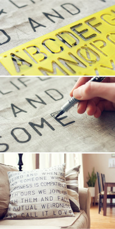 I love this pillow from Wit and Whistle. It is a super easy DIY and you could put any song or quote lyric on your pillow.