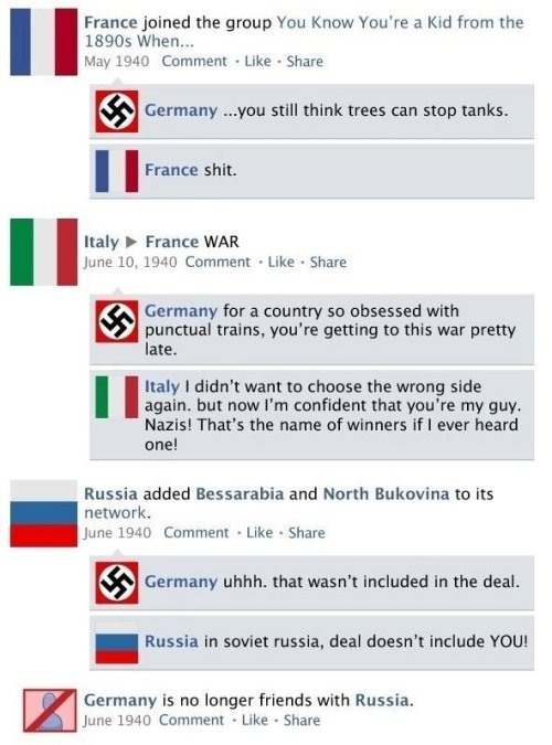 squigggle:  zeldatits:  lieutenantker:   WWII Facebook Style  I love these so much you don't even know  greatest history lesson ever created  I LULED SO HARD