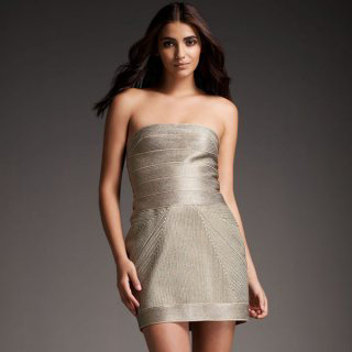 Herve Leger Silver Metallic Dress