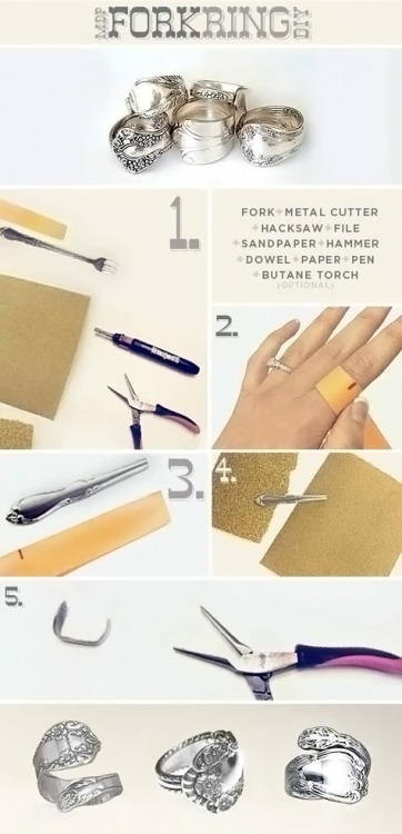 (via More Design Please - MoreDesignPlease - DIY Fork Ring)