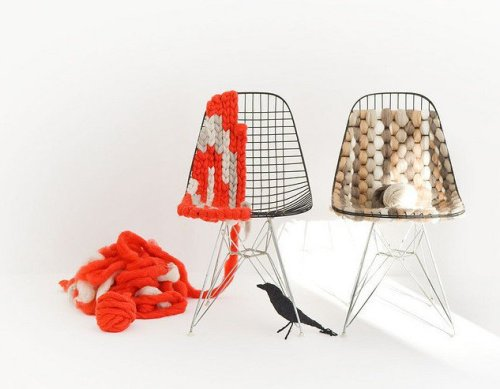 Knit-bombing the Eames wire chair.