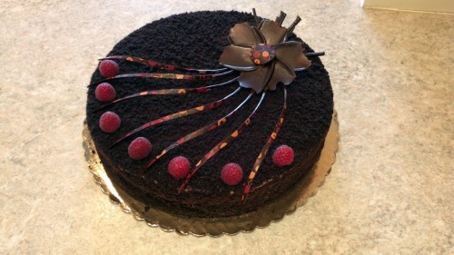 sweetcitydesserts:  Dark Chocolate Mousse Cake with raspberry coulis!