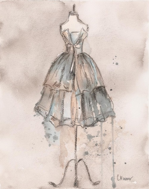 "Today's inspiration comes from this watercolor painting, by artist Lauren Maurer, titled ""Champagne Dress""…. neutrals. Neutrals are the foundation on which we build a wardrobe on. So, I'm showing them love. PS~ the painting is $20, in Lauren's Etsy shop."