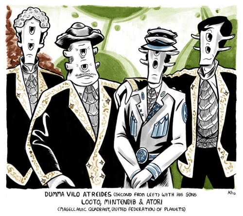 And one more alien gangster family for your day. Both Vilo and Looto make an actual appearance in The Secret Life of RX-155. Got a couple pop culture references running through this one…