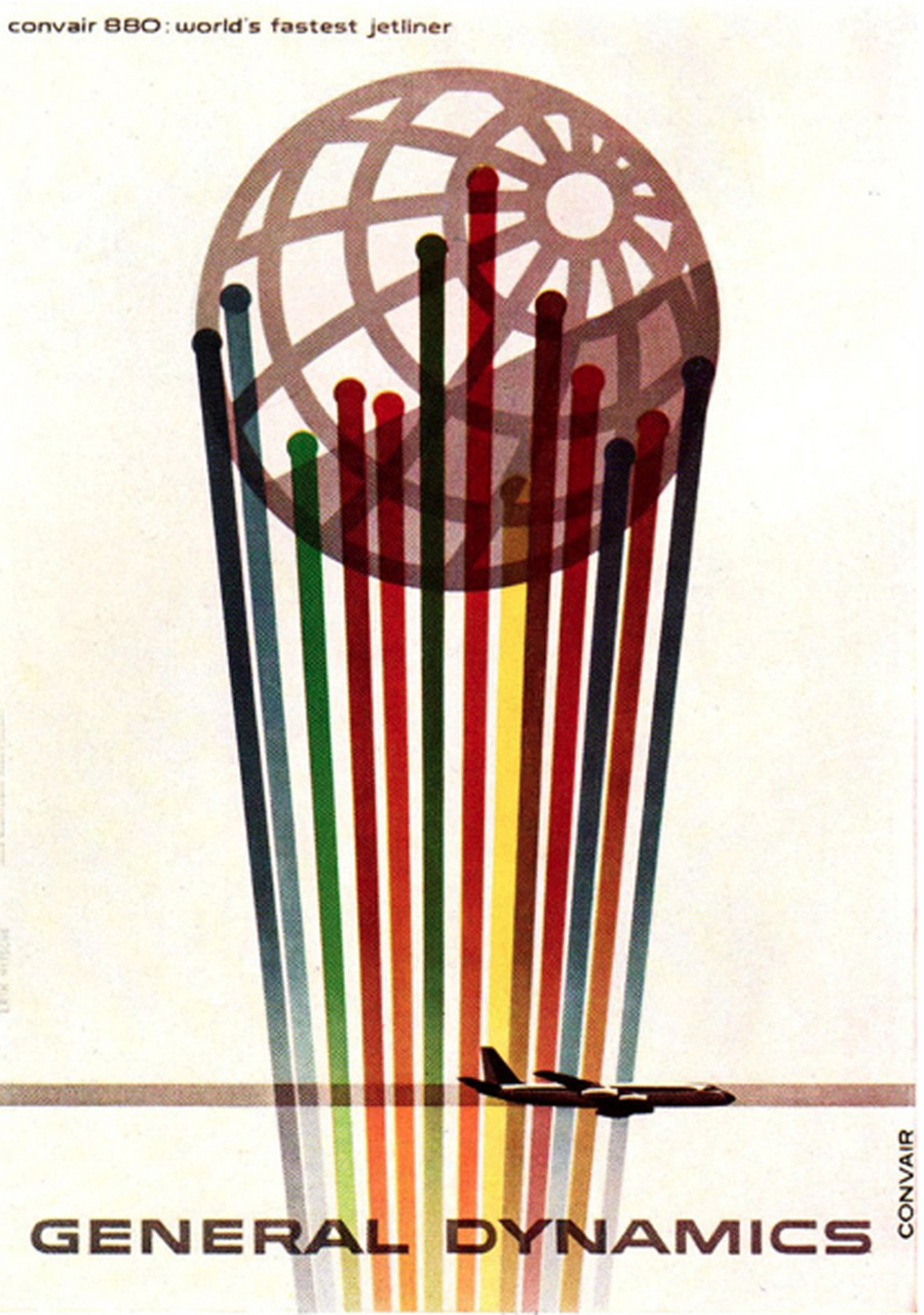 "hollyhocksandtulips:    Erik Nitsche Illustration 6  ""Convair 880: World's Fastest Jetliner"". For General Dynamics. Gebrauchsgraphik No. 4, 1961."