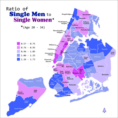 nycedc:   Ratio of Single Men to Single Women in NYC New York City's population is 53% female and 47% male. This is a widely cited statistic that often supports an argument that the gender imbalance makes it more difficult for some women to find a partner. Using Census data, we analyzed only the population who are never married singles between the ages of 20 and 34. In this subgroup, men outnumber women—742,400 to 729,500. More interestingly, the ratio varies widely by neighborhood (we used Census Public Use Microdata Areas). On the Upper East Side, young single women outnumber young single men nearly 2 to 1. Jackson Heights, Queens is on the other end of the spectrum—where there are 1.7 males for every female. The neighborhoods with ratios of 1 to 1? Jamaica, Queens and Pelham Gardens in the Bronx. On a related note, spending at the City's roughly 1,200 bars is approximately $855 million per year. This works out to $140 per resident age 21 and over, which is 58% higher than in the United States as a whole. StatsBee is a column featuring interesting statistics about NYC, written by economists at the Economic Research & Analysis department within NYCEDC's Center for Economic Transformation.