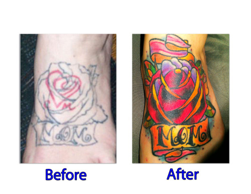 This is pretty much a cover-up of a cover-up. My ex fiancee was a tattoo artist for a short lived time and he had put the heart with  his initials there first. After we broke up I wanted it covered and had one of his co-workers start on a cover up piece. Well, before it was finished the shop closed and I walked around for 2 years with just an outline. I finally went into Tailwind tattoo in Bismarck,ND and Simeon Nelson did the beautiful piece that I now have. I could not be happier and I do have to say this is one of my best tattoos..I also have a full sleeve and countless others. Very good reason why you don't get someones initials on you and why you don't let friends tattoo on you unless they know what the hell they are doing!
