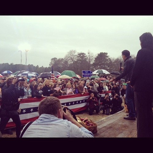 Mitt Romney in rainy Gilbert SC (Taken with instagram)