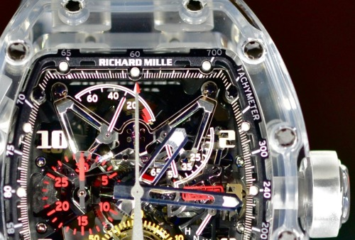 The Richard Mille RM056 Split-Seconds Chrono-Tourbillon, encase entirely in sapphire. Retail Price: $1.65 Million US. Exclusive live photographs here.